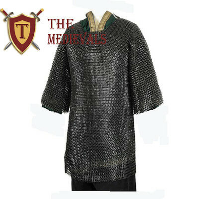 LARGE Haubergeon MEDIEVAL CHAINMAILLE SHIRT ARMOUR MS 10mm RIV  flat ring washer
