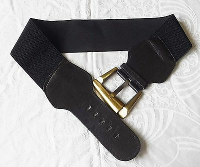 80S Retro Black Stretch Belt Stylish Buckle Goth Steam Punk  Smart