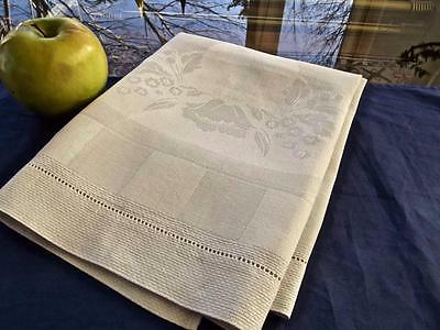 Antique White Huck Linen Bath Spa Towel Nouveau Damask Poppy Medallion 18x32