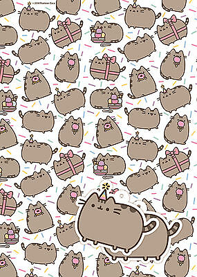 Pusheen | Cat | Ice Cream | Party Hat | Bow 2 Sheets of Giftwrap | 2 Gift Tags