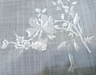 "Vintage Sheer Linen Tablecloth - Embroidery & Drawn Work 103"" Beautiful"
