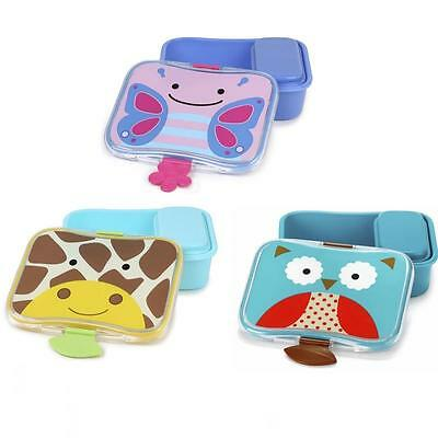 Skip Hop Zoo Lunch Kit - Childrens Plastic Snap Top Animal Lunch Box Snack Box