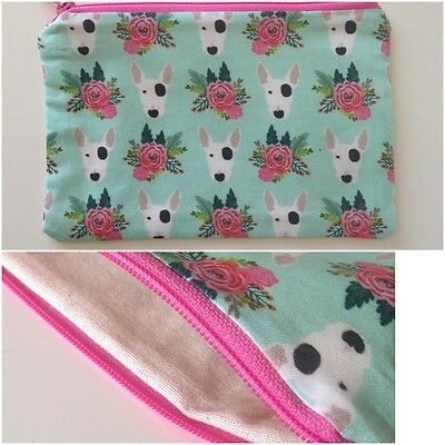 English bull terrier MAKE UP BAG Pencil case Mobile phone Dog gift Camera zip