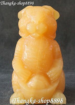 Chinese Yellow Jade Handwork Carving Wealth Yuanbao Rabbit Rabbits Animal Statue