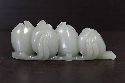 Antique Chinese green-blue jade peaches - Qing dynasty to early republic