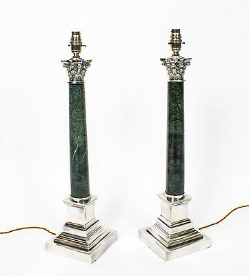 Pair Green Marble & Silver Plate Corinthian ColumnTable Lamps