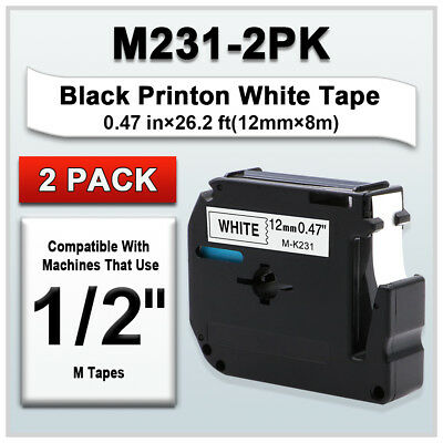 "2x MK231 Compatible for Brother P-touch Label M-K231 Black/White 12mm 1/2"" Tape"