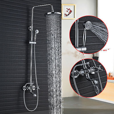"Wall Mounted 8"" Chrome Shower Faucet Single Handle Tub Mixer W/ Hand Sprayer"