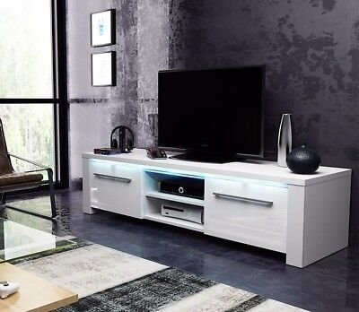 tv m bel schrank lowboard messa mit led eiche matt hochglanz in wei schwarz eur 114 99. Black Bedroom Furniture Sets. Home Design Ideas
