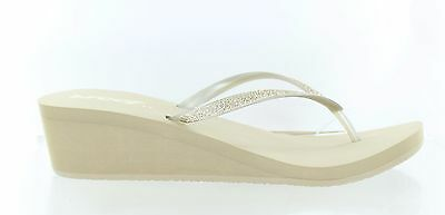 07a05b8c236040 Reef Womens Krystal Star Wedge Thong Sandal Taupe Champagne Size 11 M US