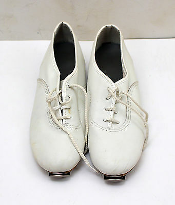 Women's Size 7-1/2 M White Clog Tap Dancing Shoes - Liberty Bell Taps Installed