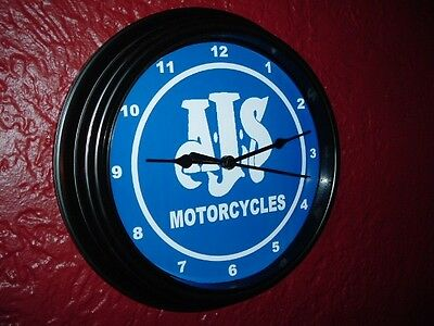 AJS Motorcycle Garage Advertising Man Cave Wall Clock Sign