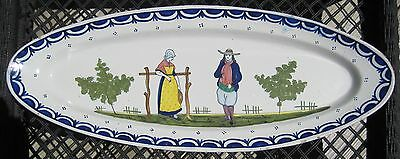 Antique French Quimper Faience Fish Platter 'HB'-only Mark
