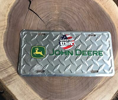 John Deere Diamond Plate Embossed Metal License Plate