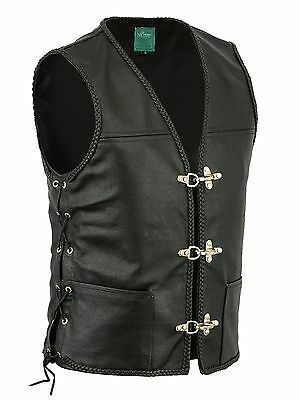 New Mens Real Leather Biker Waistcoat/vest Fish Hook Buckle- Sides Laces