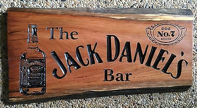 The Jack Daniel's Bar Ironbark Hardwood Slab Timber Sign 650mm Long