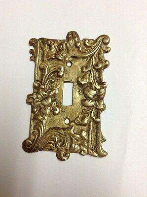 Vintage Brass Light Switch Plate Cover Art Nouveau Cast Metal Ornate Flower