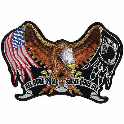 ALL GAVE SOME Military POW Eagle Motorcycle FLAG LARGE Back BIKER PATCH LRG-0426