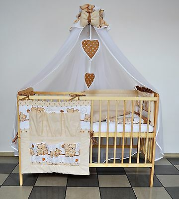 5 Pc Brown Friends Baby Bedding Set Cot Cotbed - Lux Canopy+Bumer+More Designs