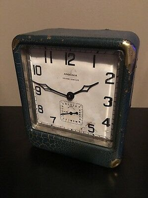 *Antique 1920's Ansonia Improved Square Simplex Crackle Windup Alarm Clock*