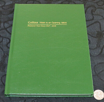 Diary Financial Year 2017/18 Collins A5 Week To View Opening Hardcover GREEN