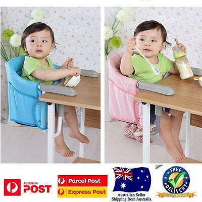 Childcare Hook On Portable Baby Booster High Chair Seat  Safety Belt Blue/Pink