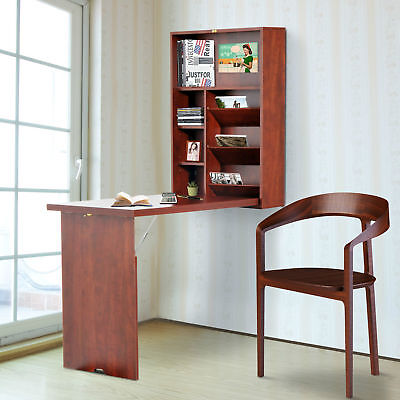 HomCom Fold-Out Convertible Desk Wall Mounted Table Cabinet Workstation Walnut