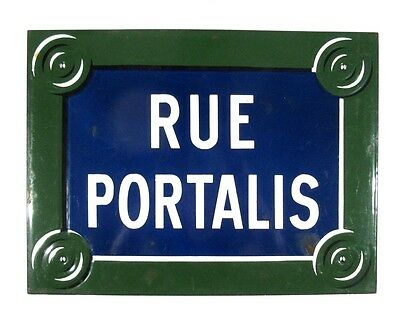 "Authentic Vintage French Paris Street Sign ""Rue Portalis"", ""Europe"" Quarter 8th"