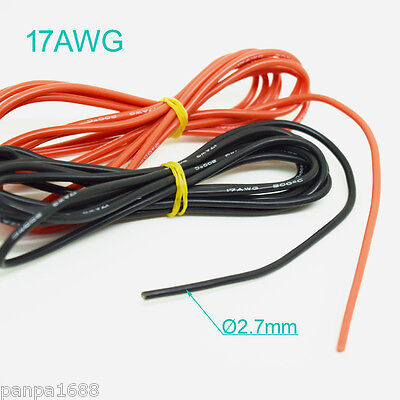 1M/3.3ft 17AWG Flexible Soft Silicone Wire Tin Copper RC Electronic Cable 2Color