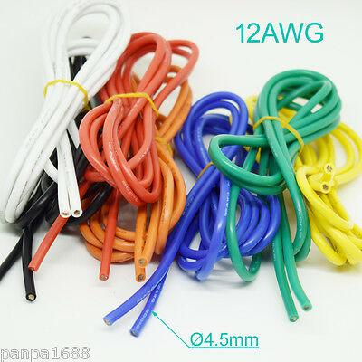 4 Meter 12AWG Flexible Soft Silicone Wire Tin Copper RC Electronic Cable 7Color