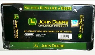 John Deere- Nothing Runs Like a Deere License plate Frame Chrome-Metal (NEW)