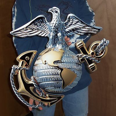 "USMC OFFICER GLOBE AND ANCHOR METAL SIGN 19""x19"" (EGA) - PhotoSTEEL"