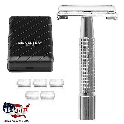 NEW Mid Century Shaving Double Edge Safety Razor with 5 Blades & Travel Case