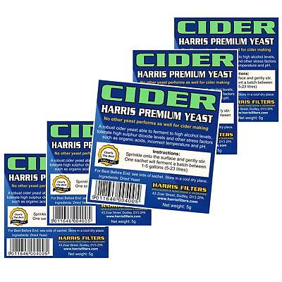 5x Harris Cider Yeast Premium Quality 5g makes 5-23L 1-5 Gallons