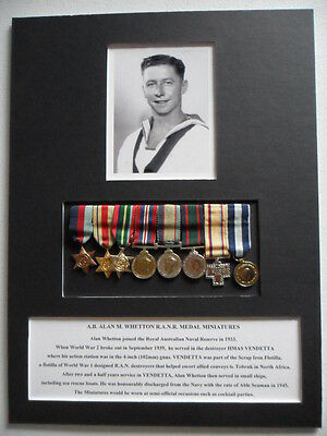 Royal Australian Navy Reserve WWII Medal Miniatures AB Whetton HMAS VENDETTA