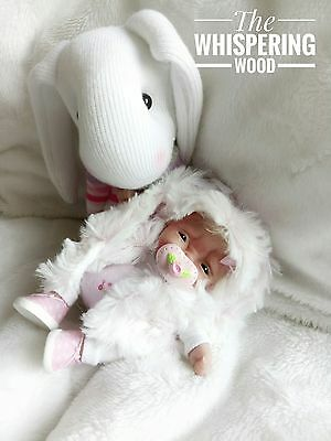 Baby Ooak girl poseable moving polymer clay artist sculpt handmade doll bunny