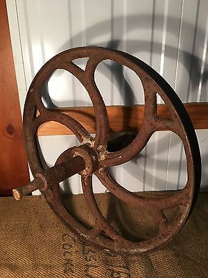 Antique Australian Cast Iron Farm Industrial Machine Wheel Garden Cafe Display