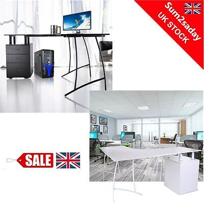 Corner Computer Desk Home Office PC Table with 3 Drawers L-Shaped Black or Whit