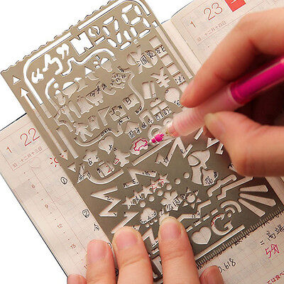1pc 12.5X7.5MM Metal Hollow Drawing Brash Template Ruler Stencil Card Gift Toy