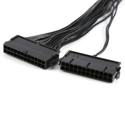 24pin To Dual 24-pin Power Supply Connector Splitter Dual-PSU ATX Adapter 1ft.