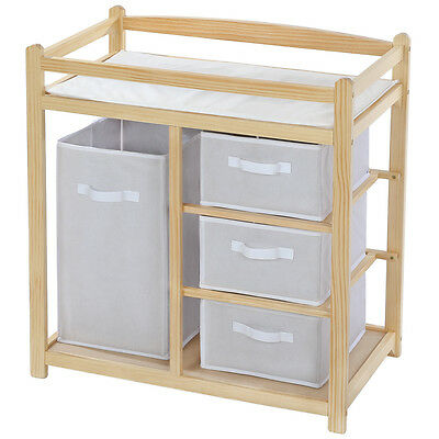 Baby toddler changing table unit station storage drawers pad mat wood