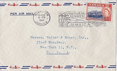 BD244) Nice Jamaica Advertising Air Mail cover bearing: 8d QEII, Price: $6