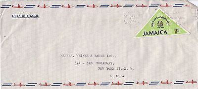 BD257) Nice Jamaica Advertising Air Mail cover bearing: 1/- Girl Guides 50 years
