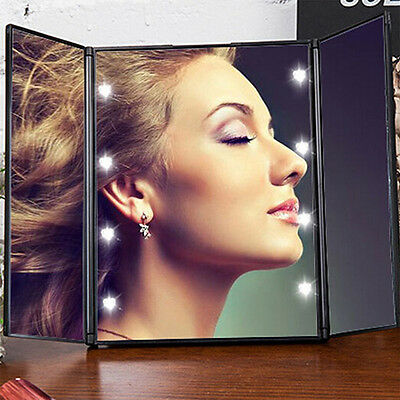 Hot Tri-Folding Makeup Mirror with LED Light PortableTravel Fold Cosmetic Mirror