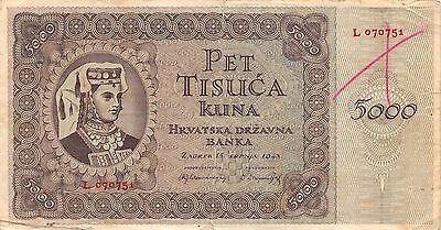 Croatia  5000 Kuna  15.7.1943  P 14a  Series L  Circulated Banknote EA3EL