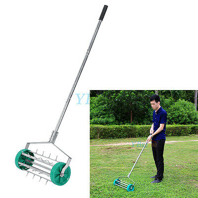 Heavy Duty Rolling Grass Lawn Garden Aerator Steel Roller Alu Handle No Noise UK