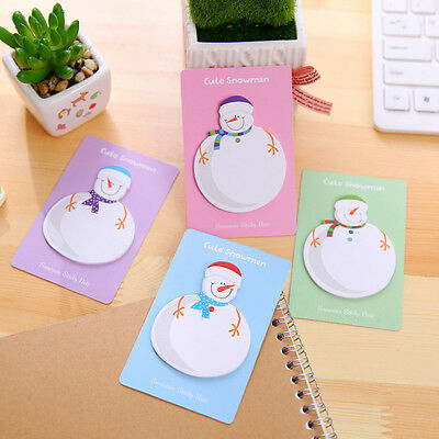 Cute 2pcs Snowman Christmas Self-Adhesive Memo Pad Sticky Note Post Planner