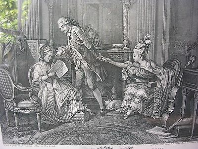 "Antique France Engraving "" LE BILLET DOUX ""  Framed"