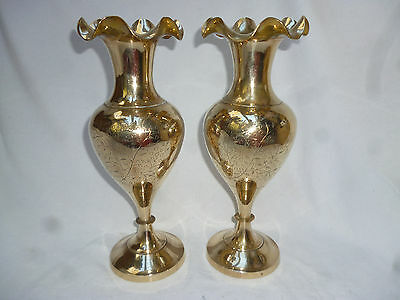 VINTAGE RETRO PAIR of TALL BRASS VASES with ENGRAVED PATTERN - 29.5cm high