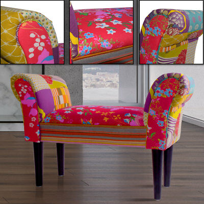 Design fabric multi colored living room furniture wood feet patchwork textile